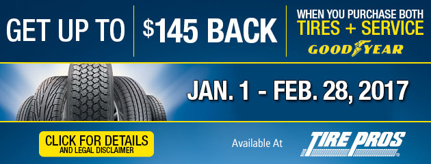 Tire Pros Get Up To $145 Back With Purchase of Tires & Service