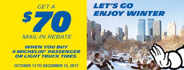 Michelin Canada Get a $70 Rebate With Purchase of 4 Tires