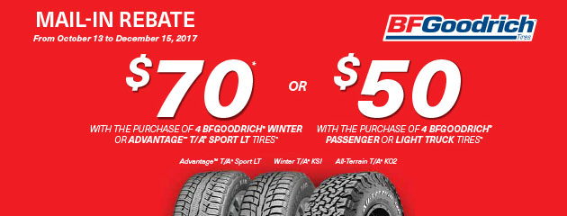 BFGoodrich Canada Up to $70 Rebate