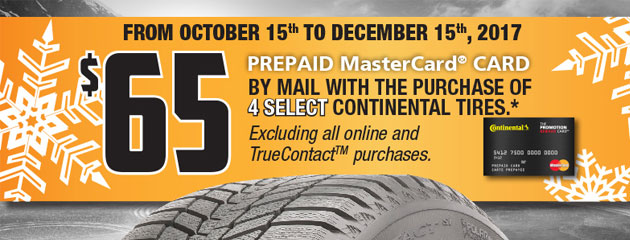 Continental Canada $65 Rebate on 4 Select Tires