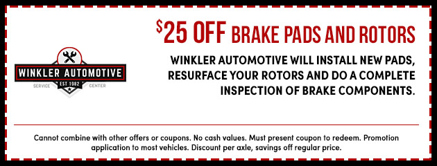 $25 Off Brake Pads and Rotors