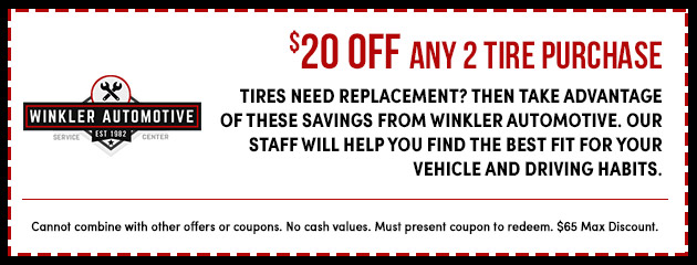 $20 Off any 2 Tire Purchase
