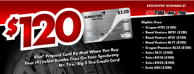 Kumho - Receive Up to a $120 Rebate