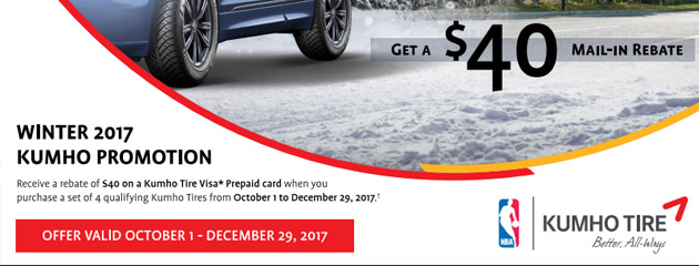 Canada Kumho $40 Rebate on 4 Select Tires