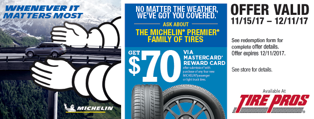 Tire Pros - Michelin $70 Rebate on 4 New Tires