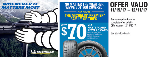 Michelin $70 Rebate on 4 New Tires