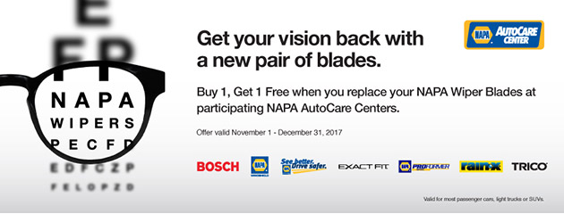 NAPA Sales Driver Buy One get One Free Wiper Blades