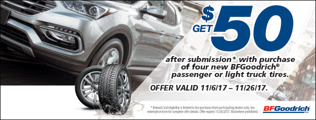 BFGoodrich - Get a $50 Rebate With Purchase of 4 New Tires