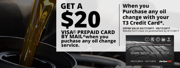 Get a $20 Visa Prepaid Card When Your Purchase Any Oil Change With T3 Credit Card