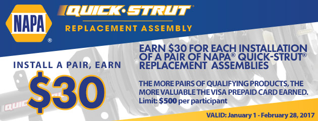 NAPA Earn $30 On NAPA Quick-Strut Replacement Assemblies