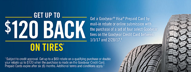 Goodyear TSN Get Up To $120 Rebate