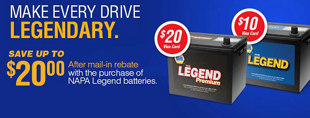 Save Up To $20 With Purchase of NAPA Legend Batteries