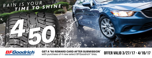 BFGoodrich Get a $50 Reward Card With Purchase of 4 New Tires