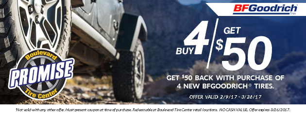 Buy 4 BFGoodrich Tires Get $50