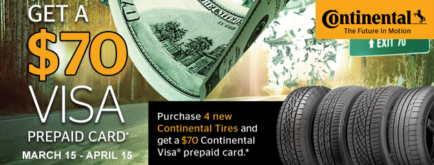 Continental Get A $70 Visa Prepaid Card With Purchase of 4 New Tires