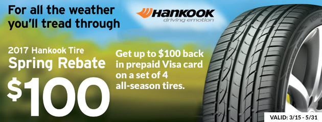 Hankook Tire Spring Rebate up to $100 Visa card on a set of 4 all-season tires