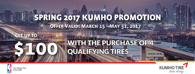 Kumho Up to $100 With Purchase of 4 Qualifying Tires