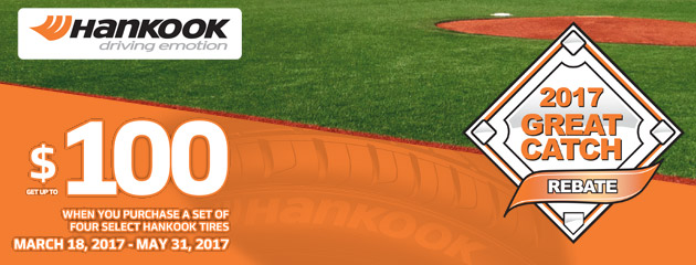 Hankook Tire Great Catch Rebate Up to $100 on Select Tires
