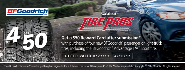 Tire Pros - BFGoodrich $50 MasterCard Reward Car With Purchase of 4 Tires