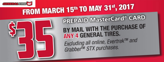 General Tire $35 MasterCard With Purchase of Any 4 General Tires