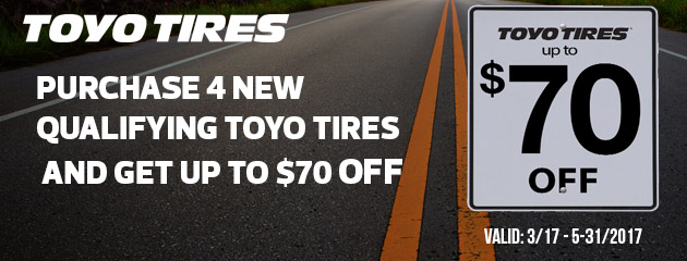 Toyo Tires Up to $70 Off Rebate