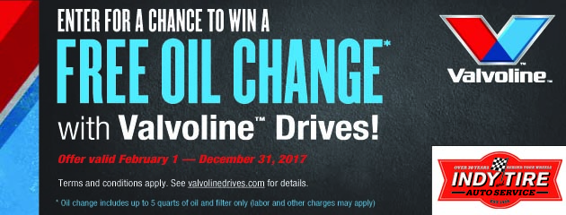 Valvoline Drives Enter For a Chance to Win a Free Oil Change