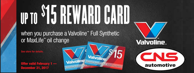 Up to $15 Reward Card With Purchase of Valvoline Oil Change