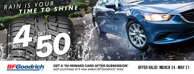 BFGoodrich Canada Get a $50 Reward Card With Purchase of 4 New Tires