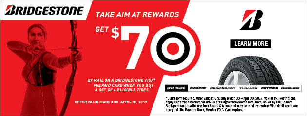 Bridgestone Take Aim and Get a $70 Visa Prepaid Card With Purchase of 4 Select Tires