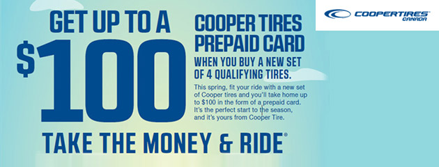 Cooper Tires Get Up to $100 Rebate With Purchase of 4 Qualifying Tires