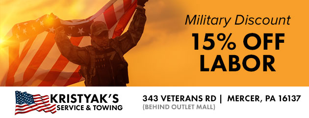 Military Discount 15% Off Labor