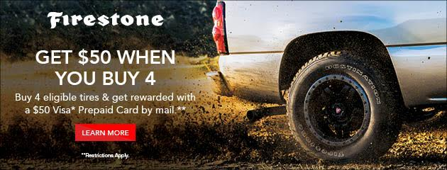 Firestone $50 Rebate With Purchase of 4 Select Tires