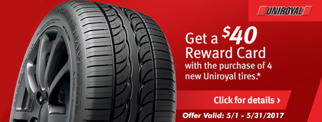 Uniroyal Buy 4 and Get a $40 Rebate
