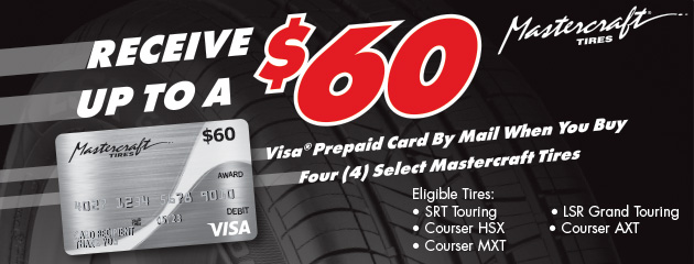 Mastercraft Up to $60 Prepaid Card With Purchase of 4 Select Tires