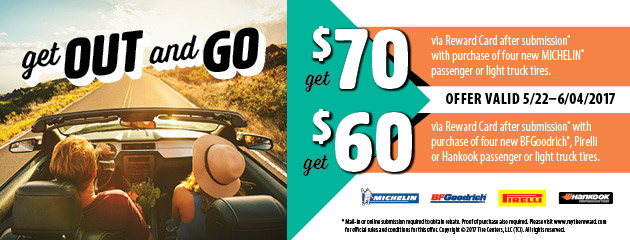 T3 Up to $70 Rebate on Select Tires