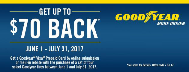 Goodyear Up to $70 Back On 4 Select Tires