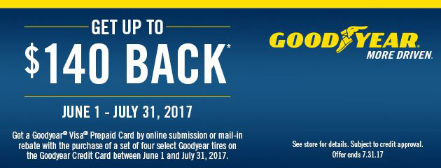 Goodyear Up to $140 Back On 4 Select Tires