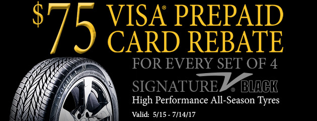 $75 Prepaid Card for Every Set of 4 Signature V Black Tires