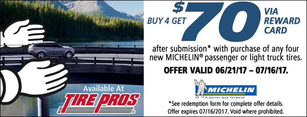 Tire Pros - Michelin $70 Reward Card With Purchase of 4 Tires