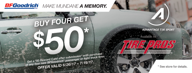Tire Pros - BFGoodrich $50 Reward Card With Purchase of 4 Tires