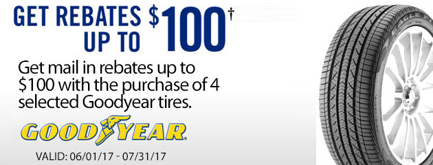 Goodyear Get Rebates Up to $100