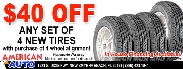$40 Off Any Set of 4 New Tires