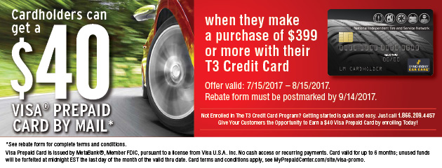 T3 Card Holders $40 Visa Prepaid With Purchase of $399 Or More