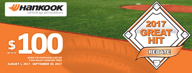 Hankook - Up to $100 Rebate on 4 Select Tires