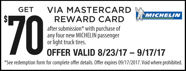 Michelin - 70 Rebate With Purchase of 4 Tires