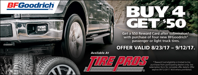 Tire Pros BFGoodrich - Get a $50 Rebate With Purchase of 4 New Tires