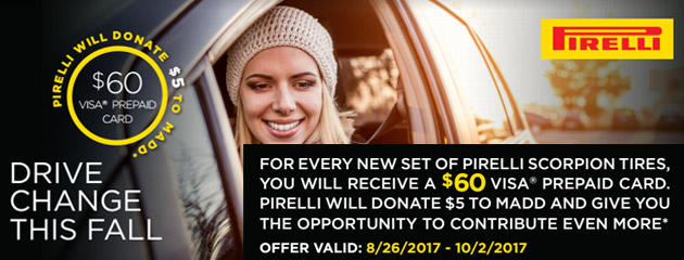 Pirelli - $60 Rebate on 4 Select Tires