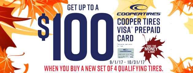 Cooper Tires - Get Up to $100 Prepaid Card With 4 Select Tires