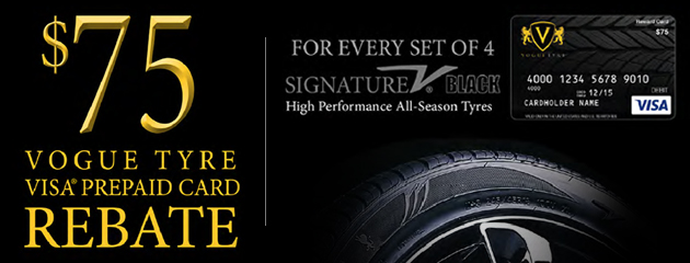 Vogue $75 Visa Prepaid Card For Every Set of 4 Signature V Black Tyres