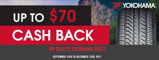 Yokohama Up to $70 Cash Back When Purchasing Select Tires